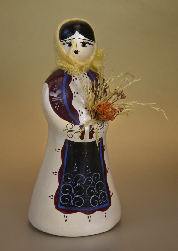 Greece Female Figure Made with Ceramics with Hand Painted Face and Dress (Full View)