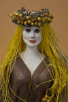 Greece Female Nymph with Hand Painted Ceramic Face and Dried Flowers (Close Up)