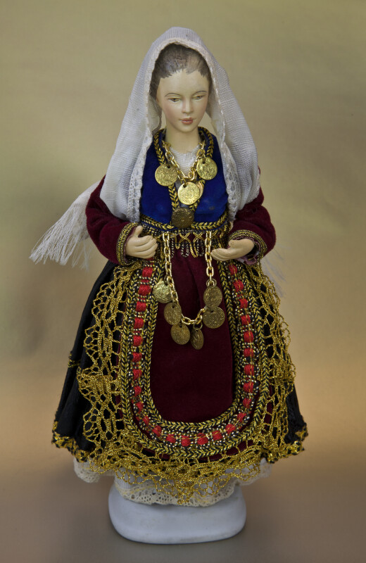 Greece Folk Doll in in Traditional Costume with Coin Necklace (Full View)