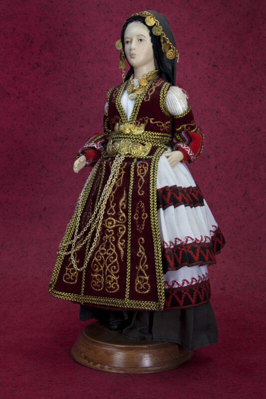 Greece Folk Doll in in Traditional Karaguna Costume (Three Quarter View)