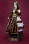 Greece Folk Doll in in Traditional Karaguna Costume (Three Quarter View)