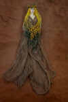 Greece Goddess of Earth Wearing Flowing Earth tone Dress and Wreath (Full View)
