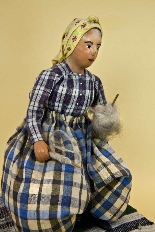 Greece Handcrafted Doll by Dora Parissis in Traditional Greek Spinner's Dress (Three Quarter View)