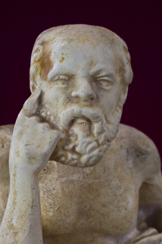 Greece - Marble-Like Statue of Socrates (Close Up)