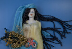 Greece Nymph of Greek Mythology Made from Ceramic, Linen, and Natural Dried Flowers (Close Up)