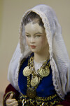 Greece Porcelain Doll Wearing Coin Jewelry and National Costume (Close Up)
