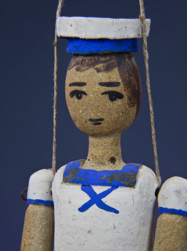 Greece Sailor Made from Ceramic and Wire in Summer Uniform (Close Up)