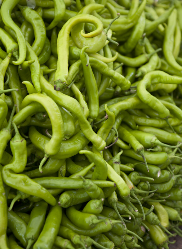 Green Chilies at an Outdoor Market in Kusadasi