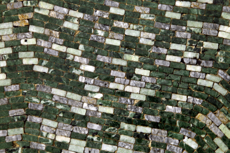Green, Gray, and White Stones in a Mosaic