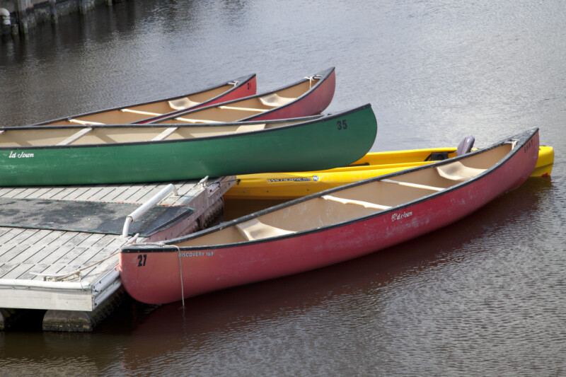 Group of Canoes Docked at the Flamingo Marina of Everglades National Park