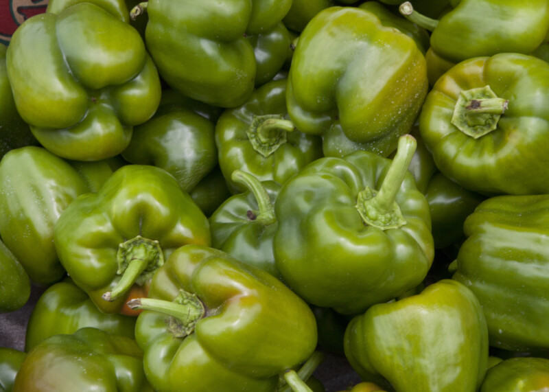 Group of Green Bell Peppers at Haymarket Square