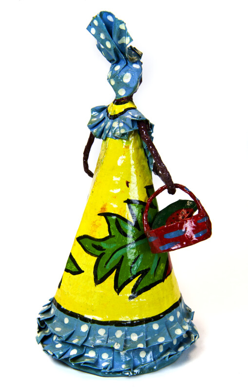 Guadeloupe Female Doll Made with Paper Base, Wire, and Tape (Back View)