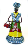 Guadeloupe Handcrafted Woman Holding a Basket with Watermelon (Full View)