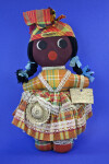 Guadeloupe Handmade doll with Straw Hat and Basket (Full View)