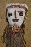 Guatemala Female Doll Made from Fabric, Wire, and Yarn Holding Infant (Close Up)