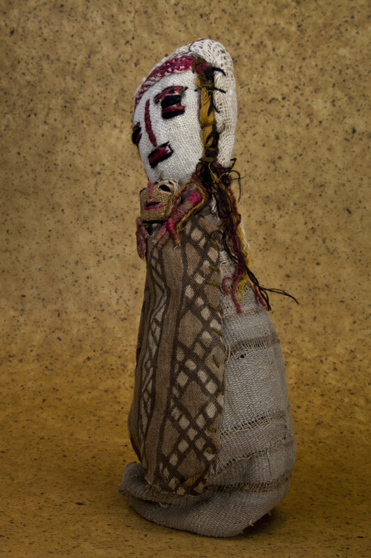 Guatemala Rag Doll with Embroidered Faces of Woman Holding Baby (Three Quarter View)