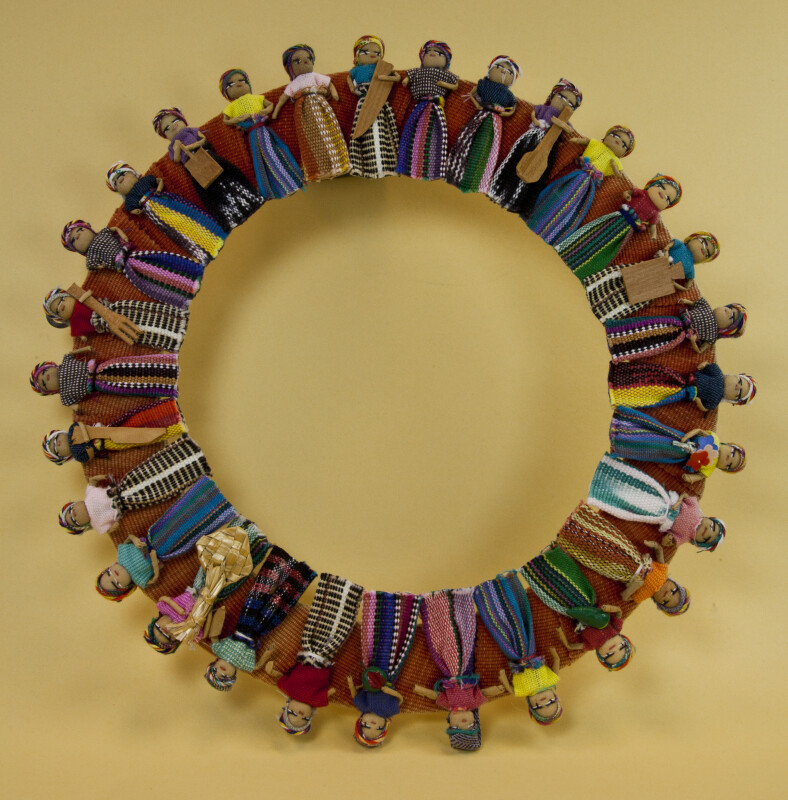 Guatemala Wreath Made of Worry Dolls in Bright Dresses and Hats (Full View)