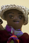 Haitian Gardener's Hand-Painted Face on Paper Mache (Close Up)