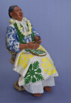 Hawaii Handcrafted  Lady Making a Quilt with Wooden Embroidery Hoop (Three Quarter View)