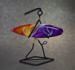 Hawaii Surfer Made with Wire Holding a Surf Board (Full View)