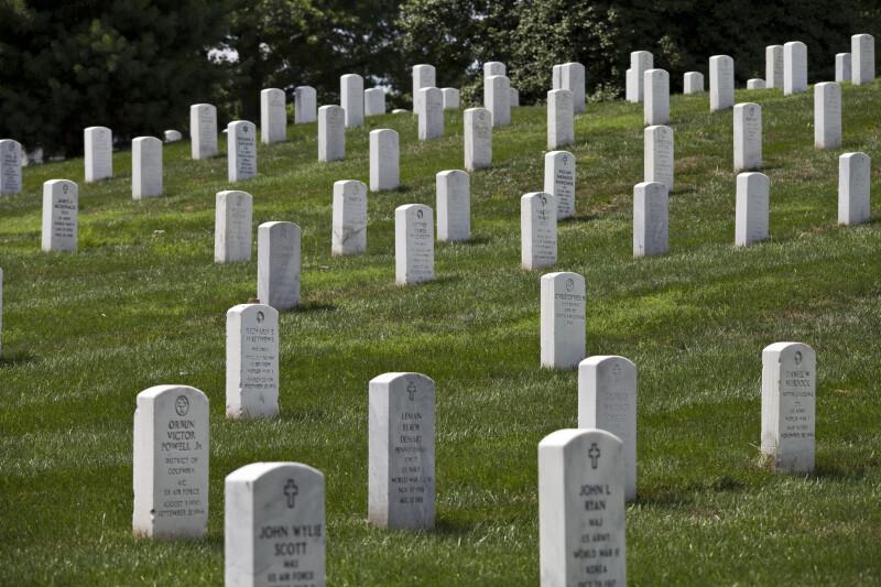 Headstones on Slope