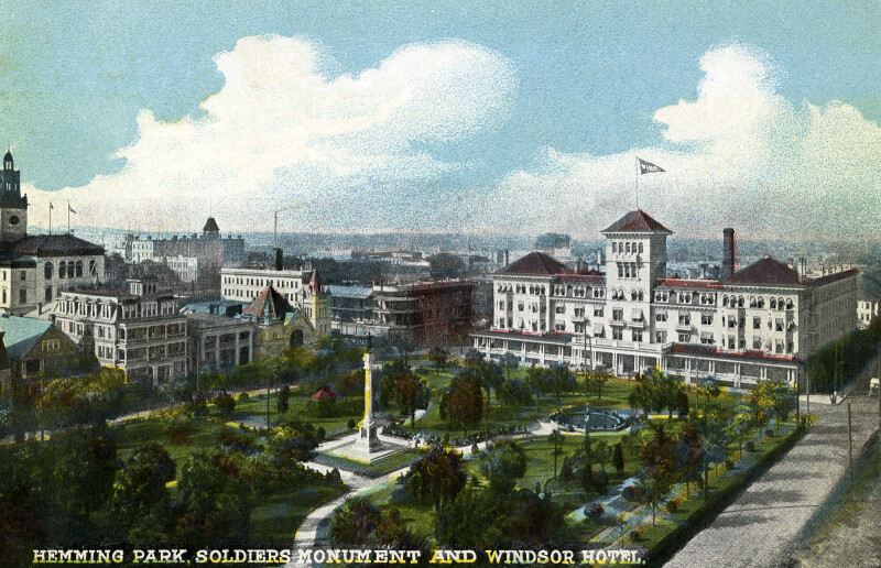 Hemming Park, the Soldiers' Monument, and the Windsor Hotel