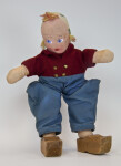 Holland Dutch Boy Wearing Wide Woolen Pants, Jacket with Brass Buttons, and Wood Shoes (Full View)