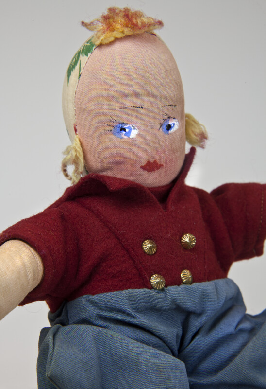 Holland Stuffed Doll with Traditional Dutch Costume and Wooden Shoes (Close Up)