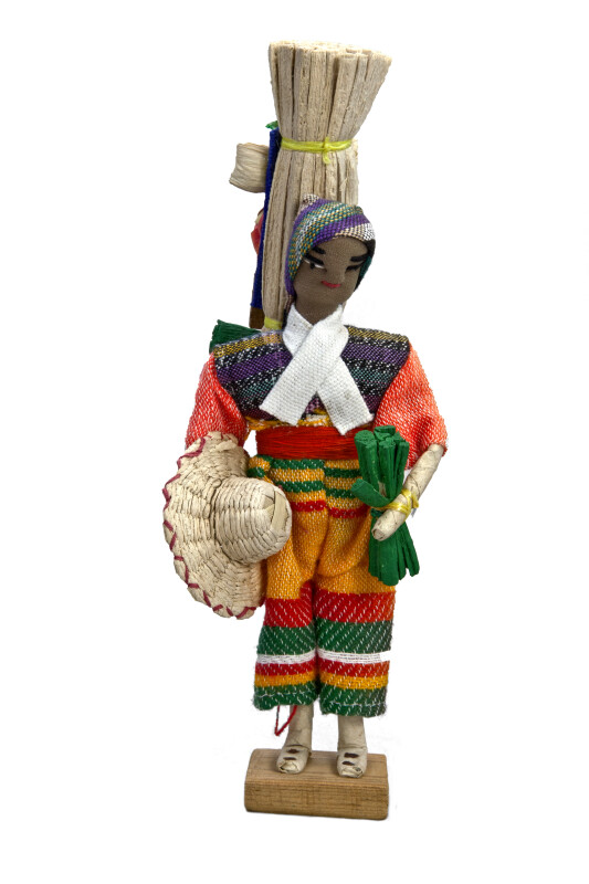 Honduras Handcrafted Man Made from Fabric, Straw, Wire, and Tape (Full View - White Background)