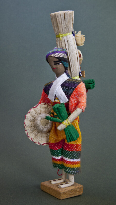 Honduras Male Fabric and Wire Figure Standing on a Wood Base (Three Quarter View)