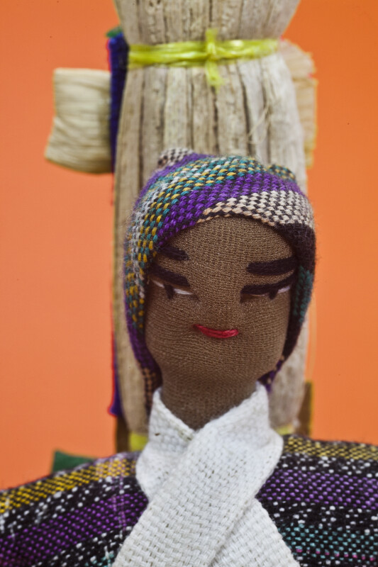 Honduras Man Made from Fabric with Hand Sewn Facial Features (Close Up)