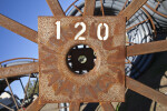 Hub of Large Metal Spool at Construction Site