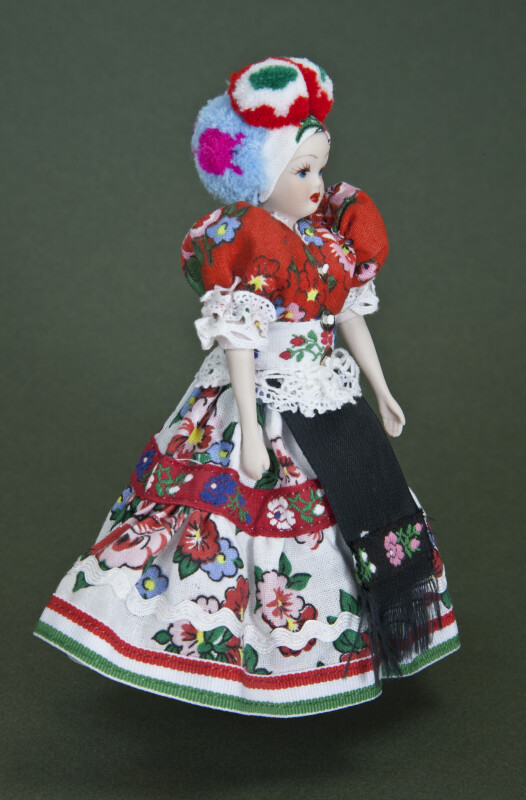 Hungary Ceramic and Cloth Doll with National Costume (Three Quarter View)