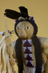 Idaho Indian Doll Made from Wood, Feathers, Fur and Leather with Beads for Eyes and Mouth (Close Up)