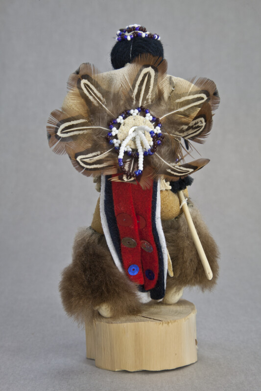 Idaho Ottagary Wood and Leather Shosone Indian Doll with Beaded Back Shield and Feather Bustle (Back View)