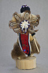 Idaho Ottagary Wood and Leather Shosone Indian Figure with Beaded Back Shield and Feather Bustle (Back View)