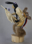 Idaho Shosone Indian Doll Wearing Fur Leggings, Leather Shirt, and Full Feather Bustle (Side View)