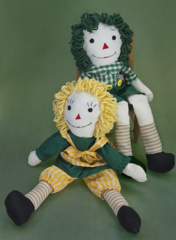 Indiana Raggedy Ann and Andy Dolls Made with Stuffed Fabric and Yarn (Full View)