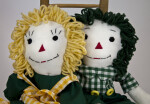 Indiana Raggedy Ann and Raggedy Andy Dolls with Yarn Embroidery for Faces (Close Up)