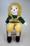 Indiana Raggedy Ann Doll with Embroidered Face and Traditional Triangular Nose (Three Quarter View)