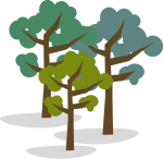 Illustration of Group of Three Trees
