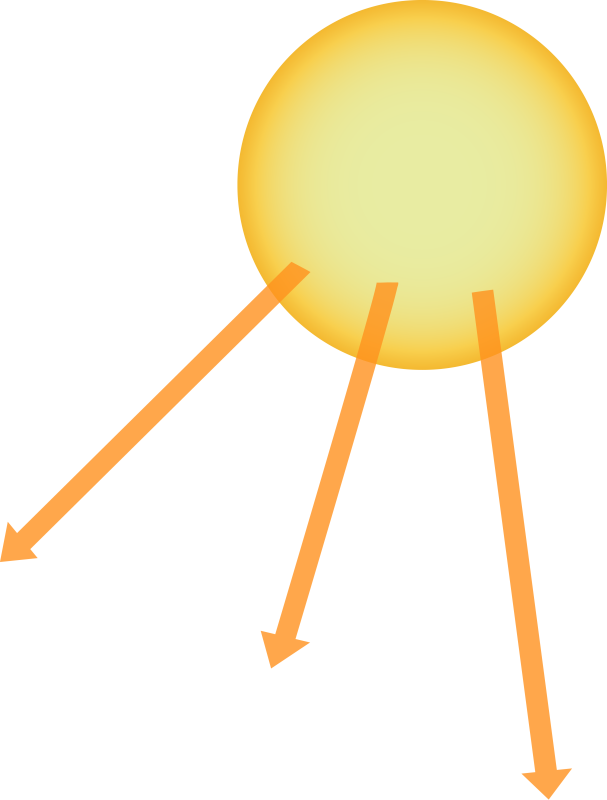 Illustration of the Sun with Three Rays