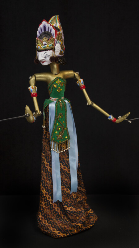 India and Indonesia Wooden Rod Puppet of Sita from Ramayana (Full View)
