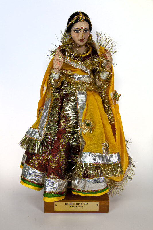 India Bride Doll from Rajasthani Wearing Red and Gold Dress with Choli, Ghagra, and Dupatta (Full View)