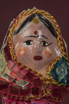 India Ceramic Lady with Hand Painted Face Framed with Small Gold Chain  (Close Up)