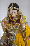India Ceramic Rajasthani Bride with Gold Headpiece, Earrings, Necklace, and Nose Ring (Three Quarter Length)