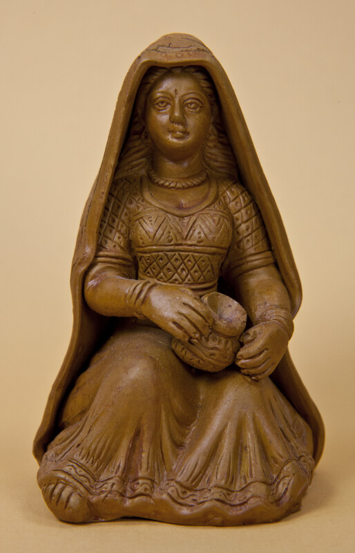 India Clay Sculpture of Woman with Intricate Designs on Scarf and Dress (Full View)