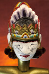 India Close Up of Face of Sita Puppet with Three Dimensional Head and Crown (Close View)
