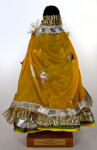 India Handcrafted Doll with Traditional Bridal Clothing, Including Long Veil with Gold Applique and Silver Trim  (Back View)