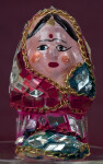 India Handcrafted Lady Figure with Hand Painted Face and Gold Chains Trimming Small Mirrors (Full View)